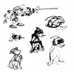 Various sketches of Cargo in his spacesuit