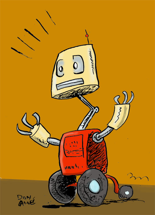 A Sketch of Lampost the Robot by Don Ahe of Road Apples Almanac