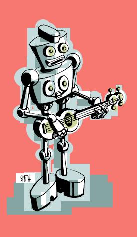 This robot plays bass.